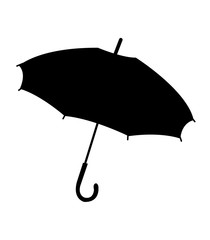 Simple, black umbrella silhouette, isolated on white background