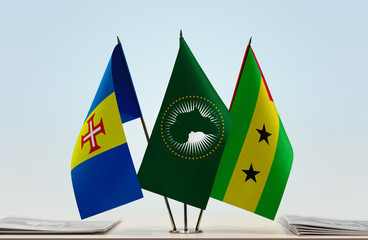 Flags of Madeira African Union and Sao Tome and Principe