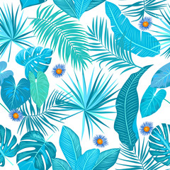 Seamless pattern of tropical leaves and flowers. Vector background.