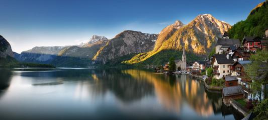 Panorama of Mountain landscape in Austria Alp with lake, Hallstatt