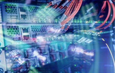 Fiber Optical connector interface. multiple exposure. Information Technology Computer Network, Telecommunication Fiber Optical Cables Connected. Data server. Futuristic concept server technologies