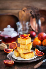 Homemade gluten-free polenta, almond and blood orange cake
