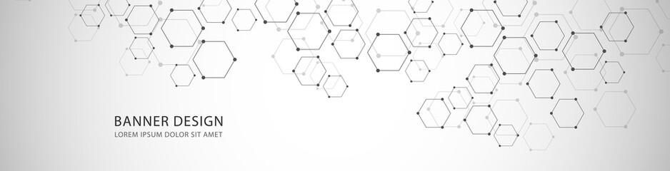 Fotobehang - Vector banner design with hexagons abstract background.