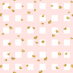 Gold heart seamless pattern. Pink-white geometric square, golden confetti-hearts. Symbol of love, Valentine day holiday. Design wallpaper, background, fabric texture. Vector illustration