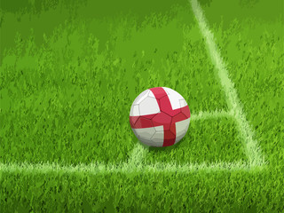 Soccer football with English flag