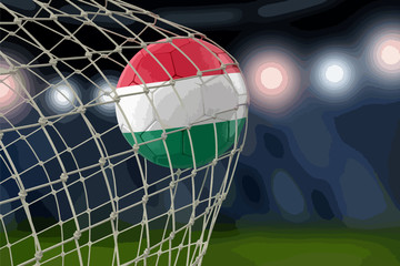 Hungarian soccerball in net