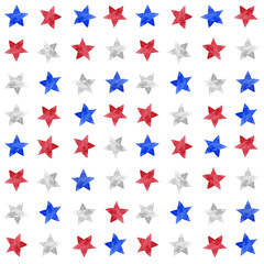 Watercolor illustration of white, blue and red stars patern set for Independence day, July 4th holiday celebration