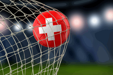 Swiss soccerball in net