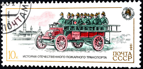 "USSR - Circa 1984 - history of fire truck - ""Frese"", 1904."