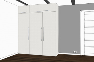 3D rendering. Wardrobe in the interior. Modern functional wardrobe with decorations and appliances. Home office with table. Table hidden in the closet.