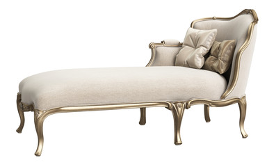Classic chaise longue isolated on white background