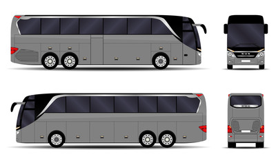 realistic bus. side view; front view; back view