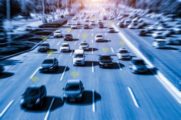 autonomous cars on city road