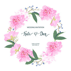 Floral invitation card for wedding, Easter, birthday, greeting. Vector illustration. Watercolor style
