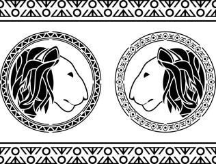 stencils of african lion head. vector iilustration