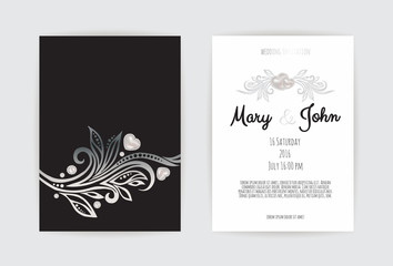 Vintage wedding invitation templates. Cover design with silver leaves ornaments.