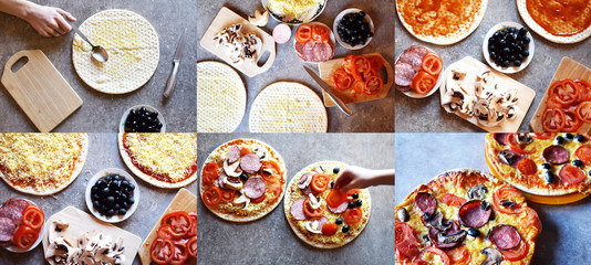 Collage of homemade pizza baking process by teenagers. Phases of making pizza in six colorful horizontal top view pictures. Concept of kids learn to cook.