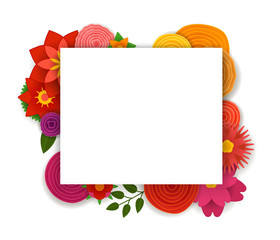 Blank white frame with color flowers. Vector template