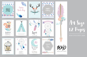 cute cards for banners,Flyers,Placards with feather,squirrel,wild,moon,star,arrow,cage,bear and tent