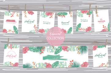 Green tropical greeting card with palm, coconut tree,hibiscus,flamingo and flower