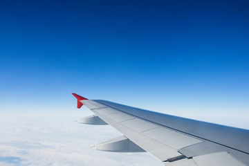 View of jet plane wing