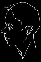 vector sketch of a beautiful man profile