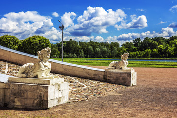 Sphinxes at Kuskovo Palace in Moscow, Russia. Hot summer day.