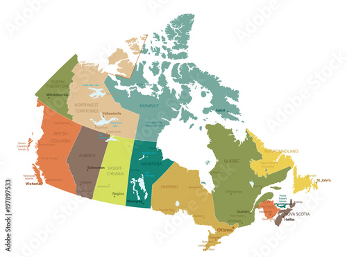 Detailed Map Of Canada.Canada Highly Detailed Map All Elements Are Separated In