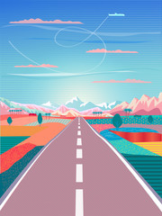 Vector Summer painting poster Road trip to rocky mountains, car, blue sky airplane, rural landscape, Adventures in nature, Traveling, Voyage, Camping, outdoor recreation, highway