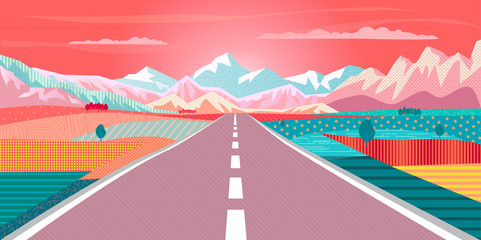 Vector Summer painting poster Road trip to rocky mountains, car, sunset sky, rural landscape, Adventures in nature, Traveling, Voyage, Camping, outdoor recreation, highway