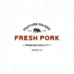 premium fresh pork label. retro styled meat shop emblem. vector illustration