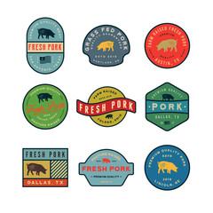set of premium fresh pork labels. vector illustration