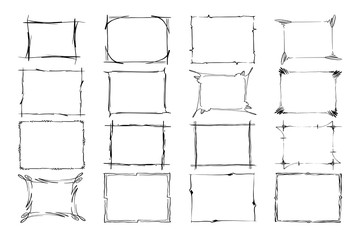 Set of Vector Frames. Rectangles for image. Hand drawn black highlighting borders isolated on the white background. Doodle effect. Pencil marks. Cartoon style. Geometric shapes for your design. Sketch