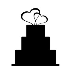 Vector silhouette of wedding cake.
