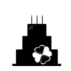 Vector silhouette of birthday cake.