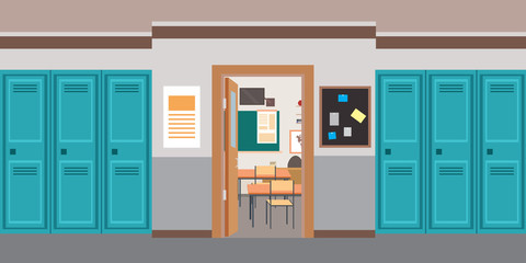 Cartoon empty School interior and open door in classroom
