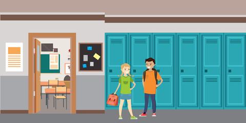 Cartoon School interior,caucasian schoolboy and schoolgirl with bags ,