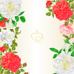 Floral border vertical festive background with blooming roses and buds vintage vector Illustration for use in interior design,  greeting cards
