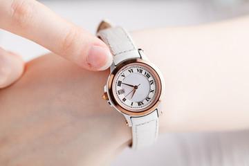 Female wrist warch on arm