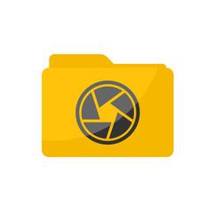 Flat minimalist Camera Folder icon in rounded square style