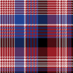 Red blue pixel check seamless pattern