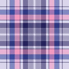 Blue pixel check plaid seamless pattern