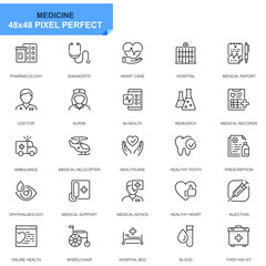 Simple Set Healthcare and Medical Line Icons for Website and Mobile Apps. Contains such Icons as Ambulance, First Aid, Research, Hospital. 48x48 Pixel Perfect. Editable Stroke. Vector illustration.