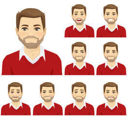 Man with different facial expressions set vector illustration