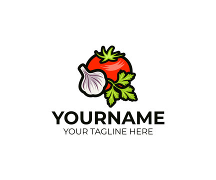 Tomato, garlic and parsley logo template. Vegetable still life vector design. Organic food and vegetables illustration