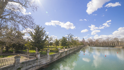 The Tajo River next to the Palace of Aranjuez. waterfalls with ducks and geese