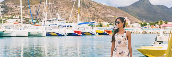 Wall Mural - Caribbean cruise travel woman touristin Philipsburg, St Maarten, holiday banner landscape panorama. Cruise ship travel destination. Netherlands Antilles.