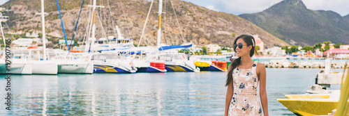 Wall mural Caribbean cruise travel woman touristin Philipsburg, St Maarten, holiday banner landscape panorama. Cruise ship travel destination. Netherlands Antilles.