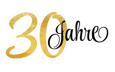 30 Jahre - Schriftzug in Gold Fotomurales