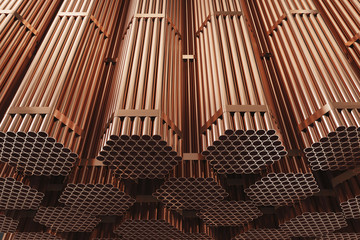 Copper pipes on warehouse. Rolled metal products. 3d illustration.